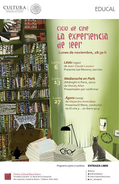 """Cine de noviembre """"La experiencia de leer"""""""
